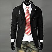 ロングLangdengカジュアルミドル/ダブルブレスト襟ウールコートスタンド(ブラック)