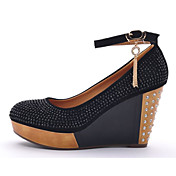 Moolecole Frauen Black Wool Kuhfell Rubber Sole Diamant Round Head Wedges Schuhe