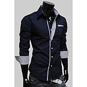 Langdeng Casual Harem Slim Kontrast barev s dlouhým rukávem (Navy Blue)