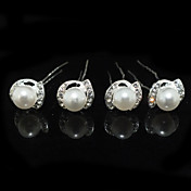 Mujer Diamantes Sintéticos Aleación Perla Artificial Celada-Boda Ocasión especial Pasador de Pelo 4 Piezas