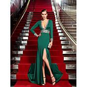 Funda / Columna Cuello en V Larga Jersey Evento Formal Vestido con Detalles de Cristal por TS Couture®