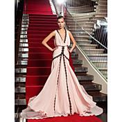 Corte en A Cuello en V Larga Georgette Evento Formal Baile Militar Gala de Etiqueta Vestido con Encaje por TS Couture®