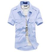 elegante color sólido camisa delgada de los hombres (acc no incluido, la etiqueta del cuello al azar)