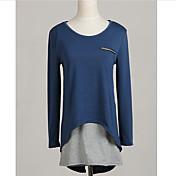婦人向け オールシーズン Tシャツ ラウンドネック パッチワーク ブルー コットン 長袖 ミディアム