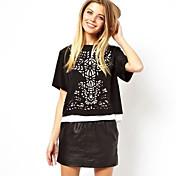 Maxlove女子シンプルラウンドネックルーズフィットカジュアルTシャツ