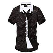 Camisa De los hombres Estampado Casual / Trabajo-Algodón-Manga Corta-Negro / Azul / Verde / Blanco