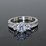 関節リング 模造ダイヤモンド 幸福 高級ジュエリー 結婚式 ステンレス鋼 ジルコン キュービックジルコニア 円形 クラウン シルバー ジュエリー のために 結婚式 パーティー 日常 カジュアル 1個