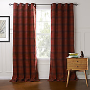 Dos Paneles Ventana Tratamiento Campestre , Ajedrez Dormitorio Algodón Material cortinas cortinas Decoración hogareña For Ventana