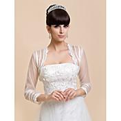 Wraps casamento Casacos / Jaquetas 3/4 de Manga Renda / Tule Marfim Casamento / Festa / Casual Camiseta Aberto à Frente