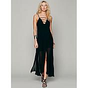 Vestido delicado y sexy Correa Larga Negro de Z & G mujeres