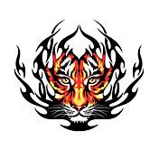 火災虎柄装飾車のステッカー