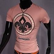 lesenメンズラウンドネックスリムdiamonadeプリントファッション半袖TシャツO