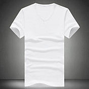 Camiseta De los hombres Un Color-Casual-Algodón / Poliéster-Manga Corta-Negro / Azul / Verde / Rojo / Blanco / Amarillo / Gris