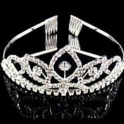 結婚式銀メッキティアラ髪の宝石