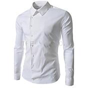 Men's Lapel Neck Solid Color Sheath Shirt