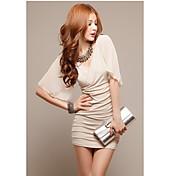 メイナ新しい韓国の夏のスタイルのセクシーホルターオフショルダーシフォンプリーツドレス