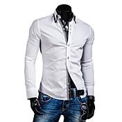 男性用 チェック カジュアル シャツ,長袖 コットン混 ブラック / ブルー / ホワイト