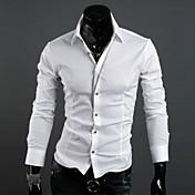 Zian® Men's Shirt Collar Fashion Features Placket Contrast Color Casual Long Sleeve Shirt