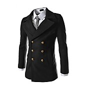 Zian® Men's Stand Collar Fashion Casual Duplex Tweed Trench Coat With Pleating Detail O