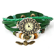 Uあえて革の翼ペンダントブレスレット腕時計