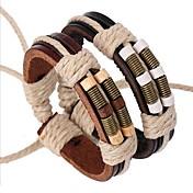 Homens Pulseiras de couro Personalizado Vintage Confeccionada à Mão Multi Camadas Inspirador Festival/Celebração Pele LigaFormato