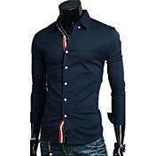 メンズシャツの襟のコントラストカラー長袖シャツ