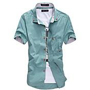 男性用 プレイン カジュアル シャツ,半袖 コットン混 ブラック / ブルー / グリーン / レッド / ホワイト / ベージュ