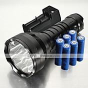 Linternas LED Linternas de Mano LED 12000 Lumens 5 Modo XM-L2 T6 18650.0 Resistente a Golpes Empuñadura Anti Deslice Recargable