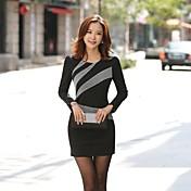 レディース ワーク ドレス,カラーブロック 膝上 長袖 ポリエステル 秋 伸縮性あり スモーキー ミディアム