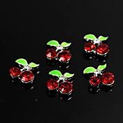 10個入りの赤いラインストーンの宝石桜のデザインの3D合金ネイルアートの装飾