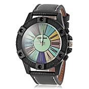 男性のカラフルなダイヤルレザーバンドクォーツ腕時計