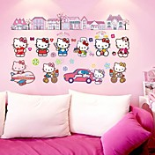 doudouwo® etiquetas engomadas de la pared de pared, de dibujos animados de la etiqueta engomada de la pared del pvc gato encantador