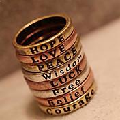 女性のヨーロッパやアメリカのレトロな最小限の文字の願いリング(ランダムカラー)