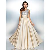 Vaina / columna un hombro piso de longitud satinado vestido de fiesta de gasa con drapeado por ts couture ®