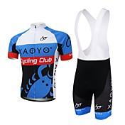 XAOYO 半袖 ビブショーツ付きサイクリングジャージー 男性用 バイク 洋服セット/スーツ 高通気性 速乾性 後ポケット ポリエステル ポリエステル100% 夏 サイクリング/バイク ライトブルー