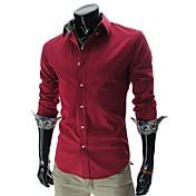 男性用 プレイン オフィス / フォーマル シャツ,長袖 コットン混 ブルー / グリーン / パープル / レッド