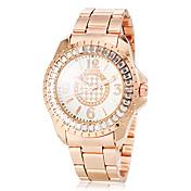 女性用 カジュアルウォッチ ダミー ダイアモンド 腕時計 模造ダイヤモンド クォーツ ローズゴールドめっき ステンレス バンド 光沢タイプ ローズゴールド
