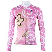 ILPALADINO Cyklodres Dámské Dlouhé rukávy Jezdit na kole Dres Vrchní část oděvu Rychleschnoucí Prodyšné 100% polyester KvětinyJaro Léto