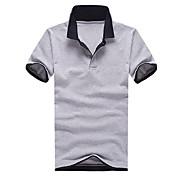 男性用 半袖 ポロシャツ,ポリエステル カジュアル プレイン