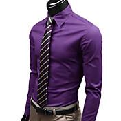 hombres nono color sólido camisa caballero