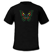 LED-T-shirts Lydaktiverede LED-lys Tekstil S M L XL XXL Stilfuld Sort 2 AAA Batterier