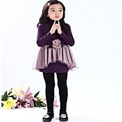 女の子の ゼブラプリント コットン混,ドレス 春 / 秋 ブラック / パープル