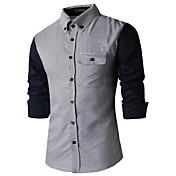 男性のレジャーカラー長袖シャツ