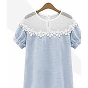 婦人向け カジュアル/普段着 夏 Tシャツ,シンプル ブルー / グレイ 半袖 薄手