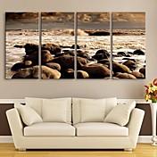 電子home®は、キャンバスは4の海のビーチ装飾画セットの芸術伸ばし