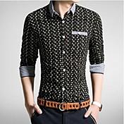 Camisa De los hombres Estampado Casual-Algodón-Manga Larga-Negro / Azul / Blanco