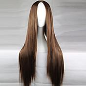 Mujer Pelucas sintéticas Largo Morrón Oscuro Raya en medio Peluca de cosplay Peluca natural Las pelucas del traje