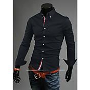 de los hombres camisas casuales sólido decoración cinta camisa de la manera concisa tamaño M-XXL del algodón del color