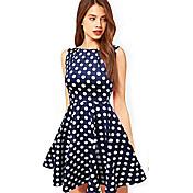 WOMEN - セクシー - ドレス ( コットン ラウンド - ノースリーブ