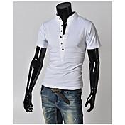 男性用 プレイン カジュアル / プラスサイズ Tシャツ,半袖 コットン混,ブラック / ブルー / グリーン / ホワイト / グレー